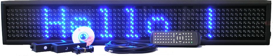 L-SERIES BLUE SINGLE LINE SEMI-OUTDOOR PROGRAMMABLE LED SIGN